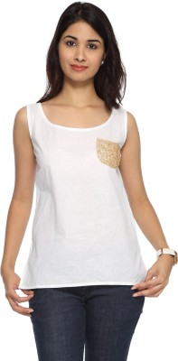 Francisca & Dominique Casual Sleeveless Solid Women's White Top