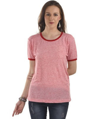 Ausehen Casual Short Sleeve Solid Women's Pink Top