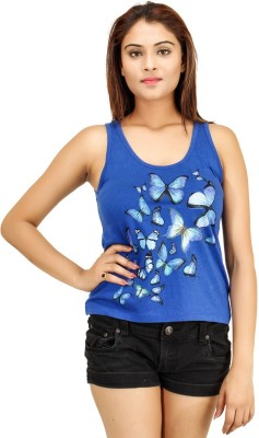 Opiumstreet Casual Sleeveless Printed Women's Blue Top