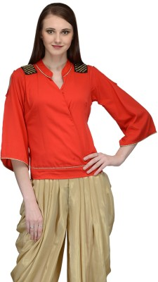 Natty India Casual 3/4 Sleeve Solid Women's Red Top