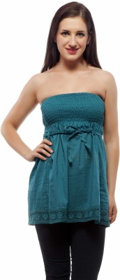 Indi Bargain Party Sleeveless Solid Women's Light Blue Top