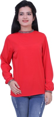 Paris Plush Party, Casual Full Sleeve Solid Women's Red Top