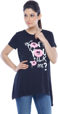 Designeez Casual Short Sleeve Self Design Women's Black Top