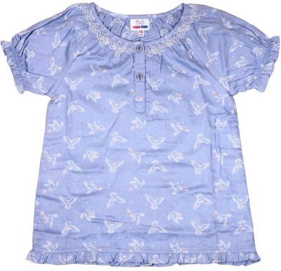 Young Birds Casual Puff Sleeve Printed Girl's Blue Top