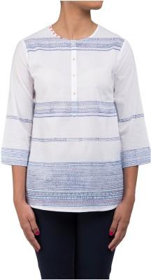 Ratan Jaipur Casual Full Sleeve Striped Women's White Top