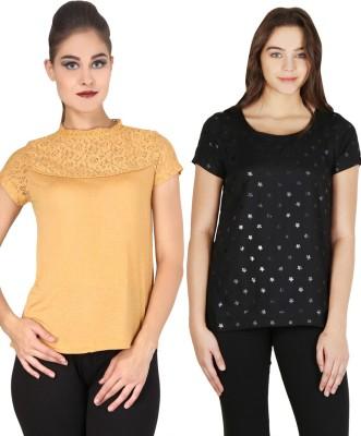 Nordic Bazaar Casual Short Sleeve Solid, Printed Women's Yellow, Black Top