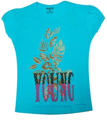 Hunch Casual Short Sleeve Graphic Print Girl's Blue Top