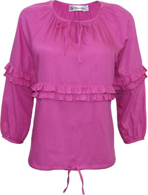 Attuendo Casual 3/4 Sleeve Solid Women's Pink Top