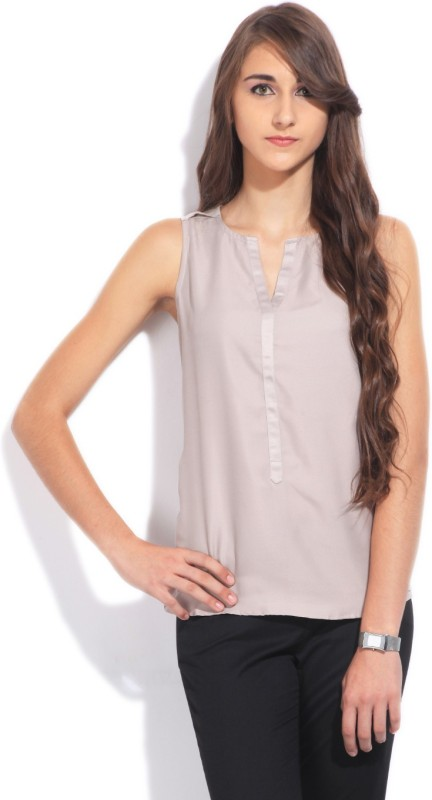Arrow Casual Sleeveless Solid Women's Grey Top