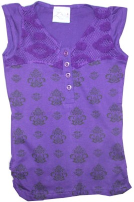 Kidsmasthi Casual Cap sleeve Printed Girl's Purple Top