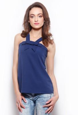 Popnetic Casual Sleeveless Solid Women's Blue Top