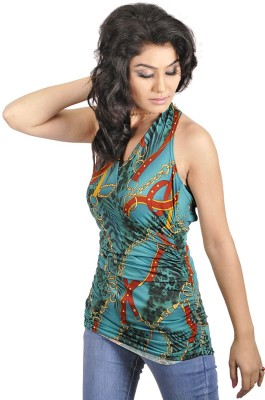 My Hollywood Shop Casual Sleeveless Printed Women's Green Top
