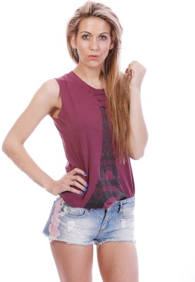 All About Eve Casual Sleeveless Printed Women's Maroon Top