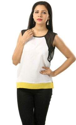 Cambow Casual Sleeveless Solid Women's White, Black, Yellow Top