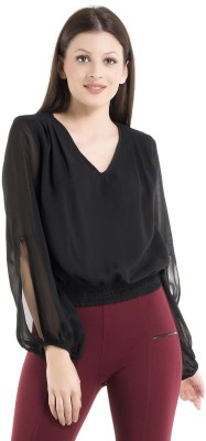 Kazo Casual Full Sleeve Solid Women's Black Top