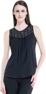 Kazo Party Sleeveless Embellished Women's Black Top