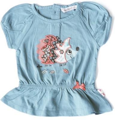 Milou Casual Short Sleeve Self Design Baby Girl's Blue Top