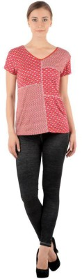 Pret a Porter Casual Cap sleeve Graphic Print Women's Red Top