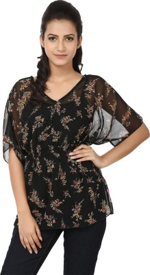 Tops and Tunics Casual Short Sleeve Printed Women's Black, Beige Top