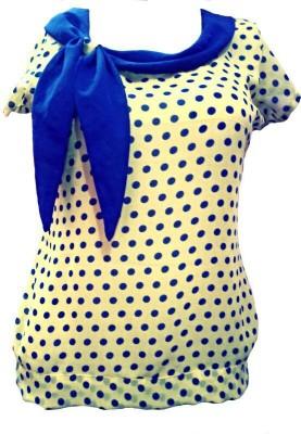 reshu Casual Short Sleeve Polka Print Women's Yellow Top