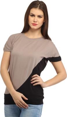 Cation Casual Short Sleeve Solid Women's Beige Top at flipkart