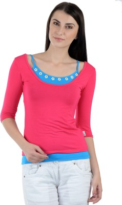 Dglowing Party 3/4 Sleeve Embellished Women's Pink Top
