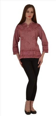Skirts & Scarves Casual 3/4 Sleeve Embroidered Women's Pink Top