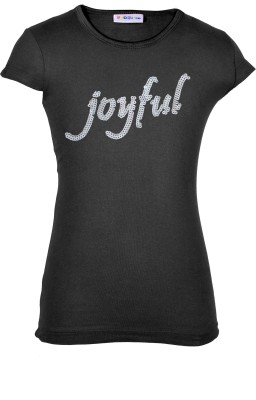 Lil Orchids Casual Cap sleeve Embroidered Girl's Black Top