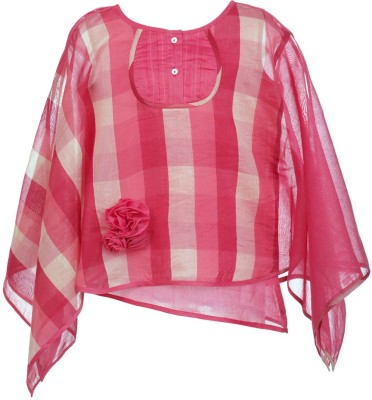 Lil Poppets Casual Kimono Sleeve Checkered Girl's Maroon Top