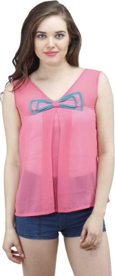 Osumfab Casual Sleeveless Solid Women's Pink Top