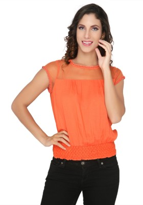 Philigree Casual Cap sleeve Solid Women,s Orange Top