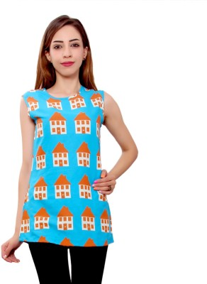 GMI Casual Sleeveless Printed Women's Multicolor Top