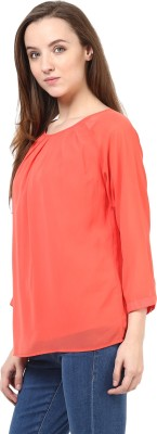Rare Casual Short Sleeve Solid Women's Pink Top