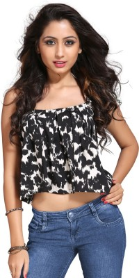Vastrani Casual Sleeveless Printed Women's Black, White Top