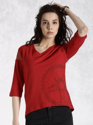 Roadster Casual 3/4 Sleeve Printed Women's Red Top