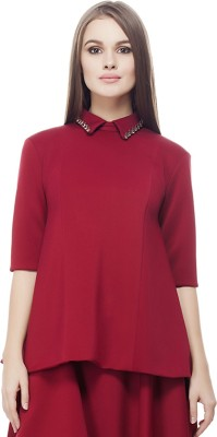 Elegn Casual, Party Short Sleeve Solid, Embellished Women's Maroon Top