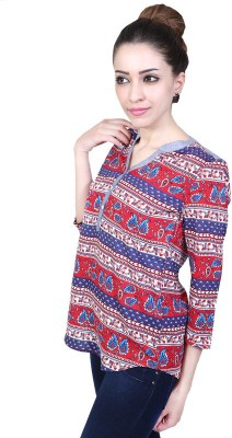 Urban Religion Casual 3/4th Sleeve Self Design Women's Multicolor Top