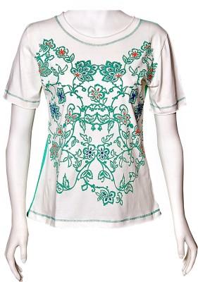 Akfa Casual Short Sleeve Floral Print Women's Green, White Top