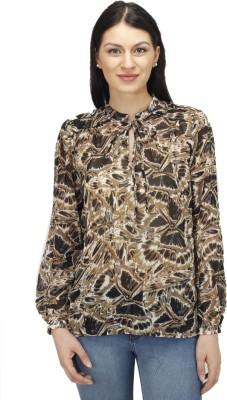 Splendent Casual Full Sleeve Printed Women's Brown Top