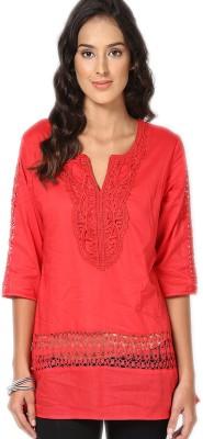 U&F Casual 3/4 Sleeve Solid Women's Orange Top