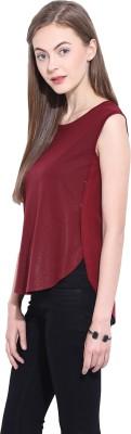 Leo Sansini Casual Sleeveless Solid Women's Maroon Top