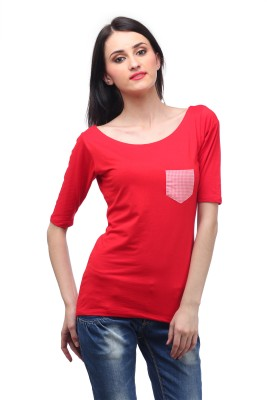 Cation Casual 3/4th Sleeve Solid Women's Red Top at flipkart