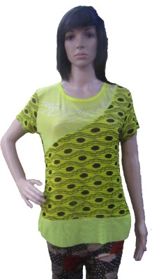 AARADHYA BOUTIQUE Casual Short Sleeve Printed Women,s Yellow Top