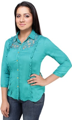 Styles Clothing Casual 3/4 Sleeve Solid Women's Light Green Top