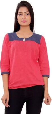 Msons Casual 3/4 Sleeve Polka Print Women's Red, Blue Top