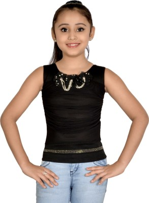 ABHIRA Casual Sleeveless Embellished Girl's Black Top