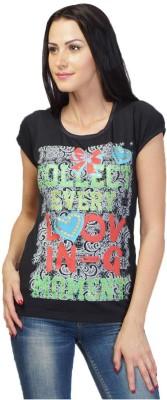 NEENUS Casual Short Sleeve Printed Girl's Black Top