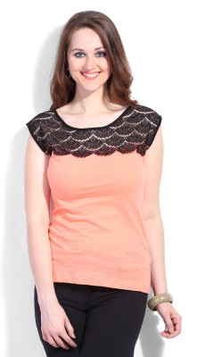 Latin Quarters Casual Sleeveless Solid Women's Orange Top