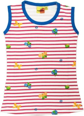 Tomato Casual Sleeveless Striped Girl's White, Red, Blue Top