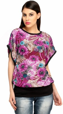 Snoby Casual Short Sleeve Printed Women's Multicolor Top